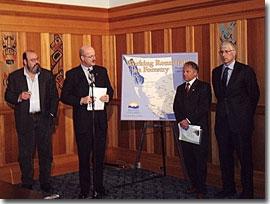Press conference for Report release - From left to right: Dave Porter, Kaska Dena Nation; Minister Bell; Derek Thompson, Associate Professor, Royal Roads University; and Tom Olsen, President, Triumph Timber
